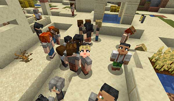 Image where we can see a group of villagers, wandering through a desert village, with the textures generated by Player Villager Models Texture Pack.