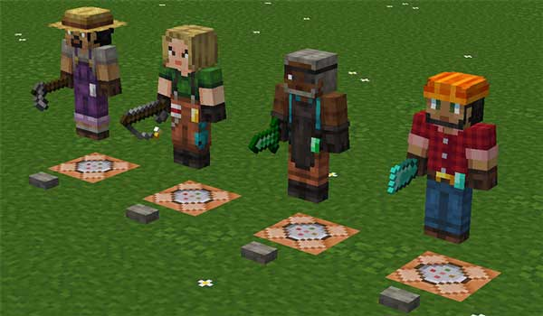 Image where we can see four villagers with random appearances, generated by Player Villager Models textures.