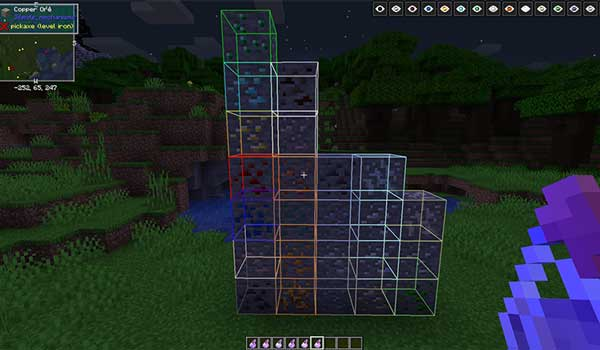 Image where we can see how the potion works to reveal nearby minerals, offered by the Potions Master Mod.