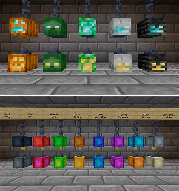 Composite image where we can see several examples of the different types of lamps that we can create with the Skinned Lanterns Mod installed.