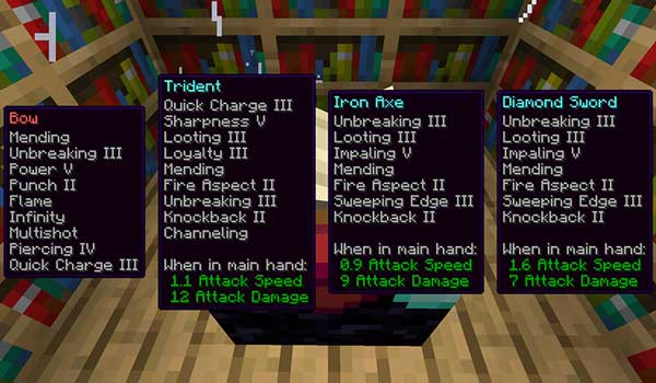 Image where we can see a player selecting which enchantment to use, thanks to the Sneaky Magic Mod.