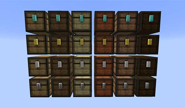 Image where we can see an example of the different types of chests that we can make with the Storage Overhaul Mod.