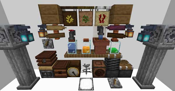 Image where we can see all the blocks and objects that we can make with the Supplementaries Mod.