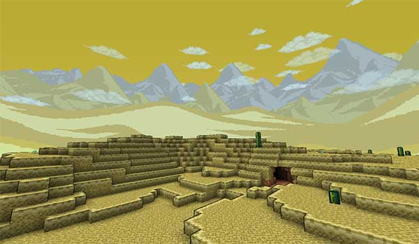 Image where we can see how the desert biome will look like with the Terrapack 3D texture pack installed.
