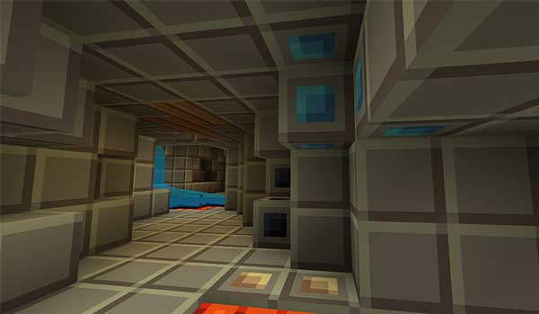 Image where we can see the interior of a mine, decorated with the Tiny Pixels Texture Pack.