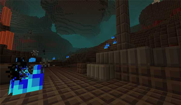Image where we can see one of the new biomes of the Nether dimension, decorated with the Tiny Pixels Texture Pck.