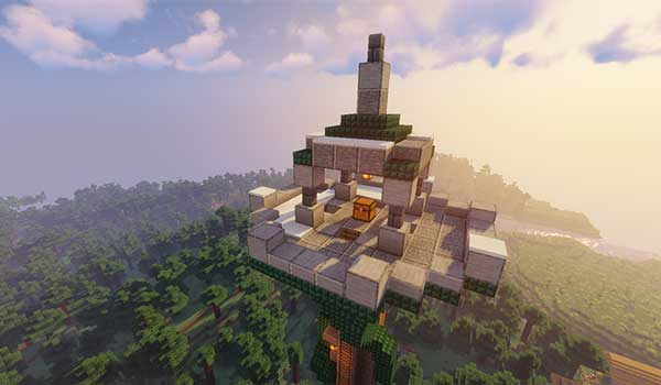 Image where we can see the upper area of one of the towers, with a treasure, which adds the Towers Of The Wild Mod.