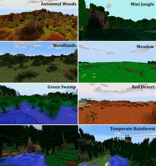 Image where we can see some of the biomes that we will find after installing the Traverse mod.