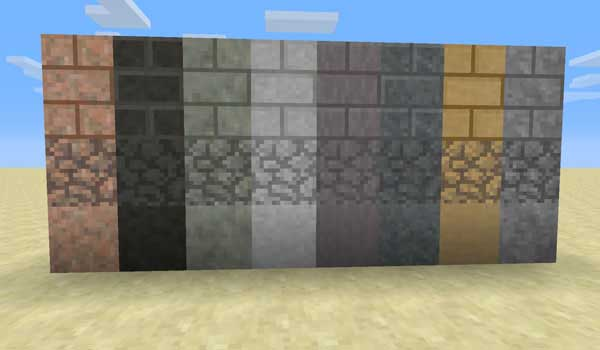 Image of various materials with which we build, thanks to underground biomes mod.