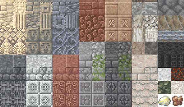 Image where we can see an exposition of the new types of rock building blocks that the Unearthed Mod will generate.