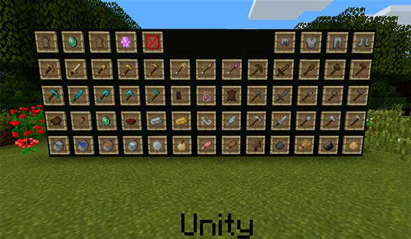 Image where we can see how several objects in the game will look like when using Unity textures.