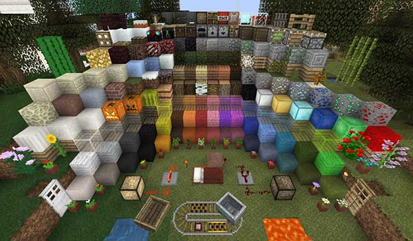 Image where we can see an exposition of all the blocks of the game, decorated with the textures of Unity Texture Pack.