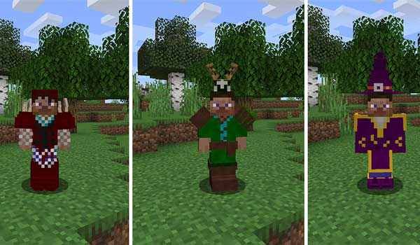 Composite image where we can see three armors that we can make with the Wizard Staff Mod.