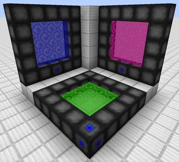 Example image where we can see three different types of portals, created with the Wormhole Portals Mod.