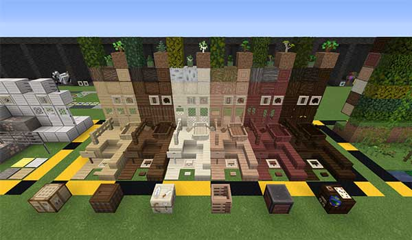 Image where we can see an exhibition of wood blocks, decorated with XeKr Light Color textures.