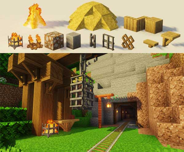 Composite image where we can see some of the blocks and decorative objects that we can use when installing the Decorative Blocks Mod.