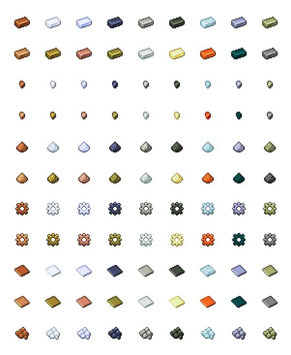 Image where we can see some examples of the new mineral resources that will allow us to use the Emendatus Enigmatica Mod.