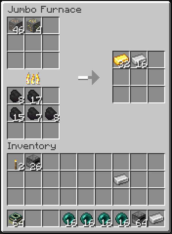Image where we can see the Jumbo Furnace graphical interface offered by the Jumbo Furnace Mod.