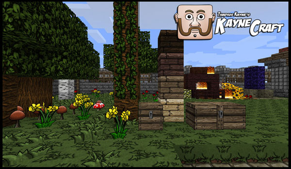 Sample image where we can see several blocks in a garden, using the KayneCraft texture pack.