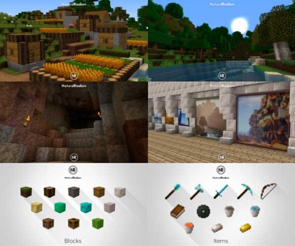 Image where we can see a village, a cave, a landscape and the interior of a building, all decorated with the textures offered by the Natural Realism texture pack.