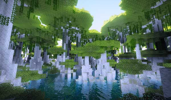 Image where we can see one of the new biomes generated by the Oh The Biomes You'll Go Mod.