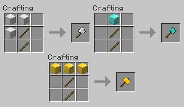 Image where we can see how to make each of the tools that we can make with the Practical Tools Mod.