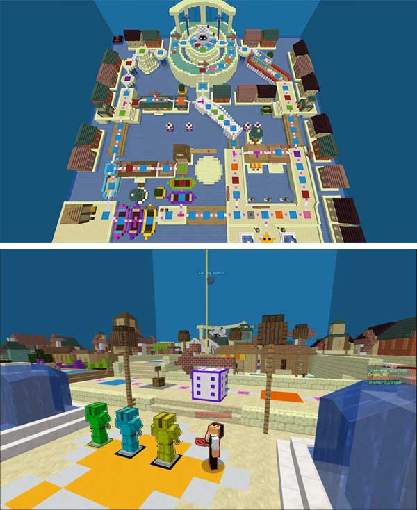 Composite image where we can see one of the boards, or platforms, that we will find in the Super Voxel Party Map.