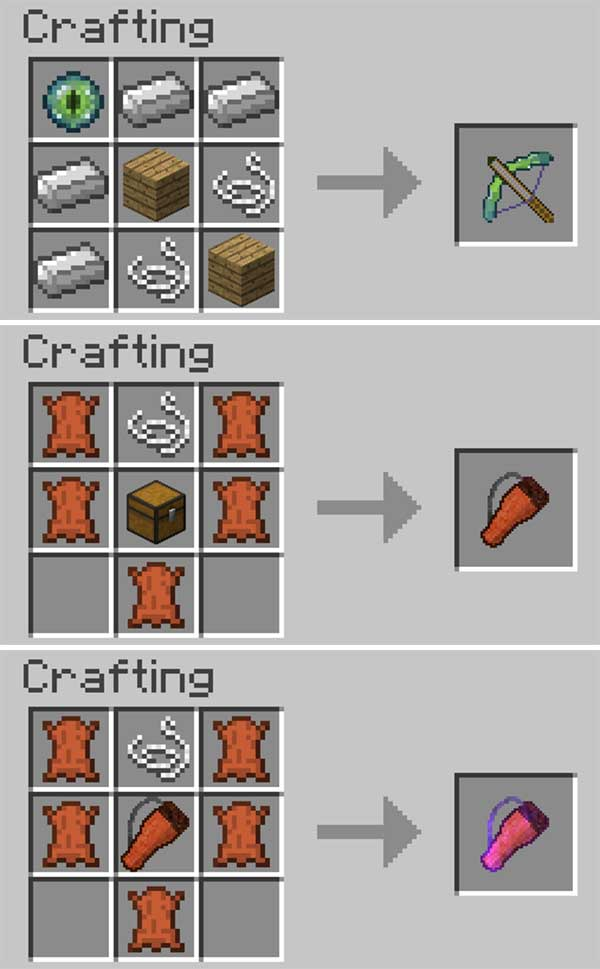 Image where we can see how to make the crossbow and the two types of quivers that will allow us to make the Switch-Bow Mod.