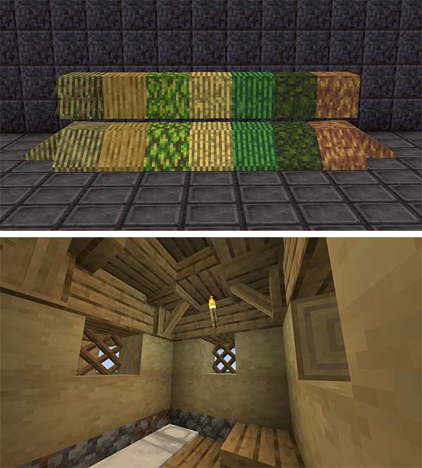 Composite image where we can see the different types of thatch, and the interior of a construction made with thatch, which adds the Thatched Mod.