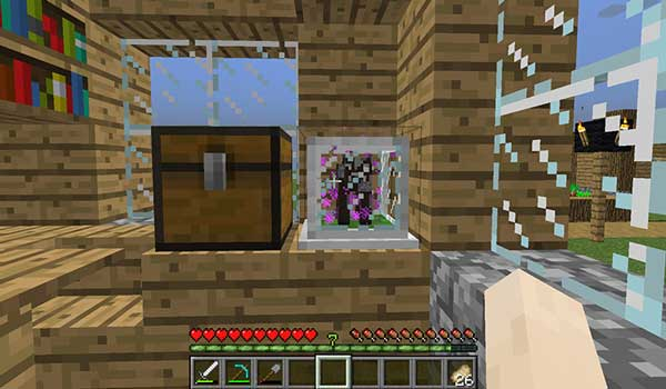 Image where we can see a grana block created by the Tiny Mob Farm Mod.
