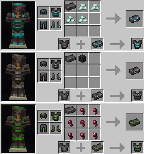 Image where we can see the recipes of some of the Netherite armor upgrades offered by the Upgraded Netherite Mod.