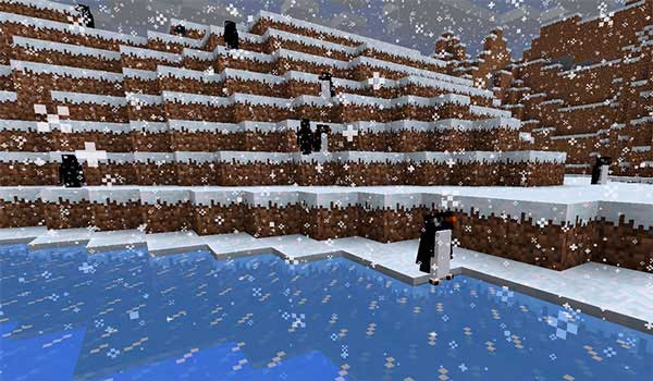 Image where we can see the adelaide penguins added by the Waddles Mod to the cold biomes of Minecraft.