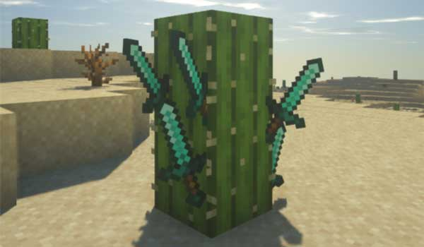 Image where we can see several swords that have been thrown against a cactus, using the Weapon Throw Mod.