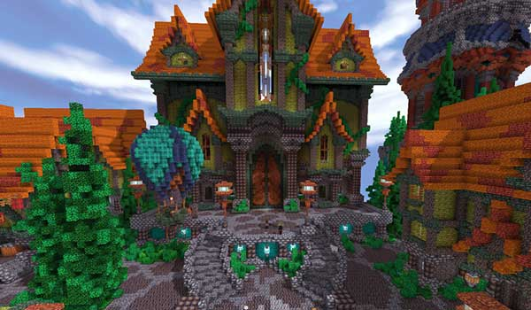 Image where we can see a castle decorated with the textures offered by the texture pack Aluzion Classic.