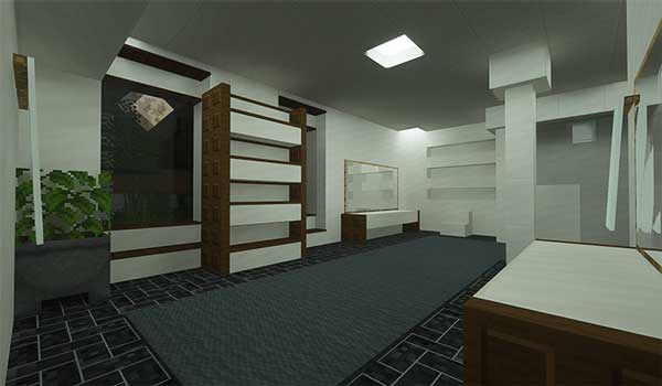 Image where we can see the interior of a house decorated with the new building blocks offered by the Block Diversity Mod.