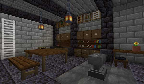 Image where we can see an example of the blocks and decorative objects that we can make with the Builders Crafts & Additions Mod.