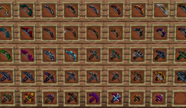 Image where we can see all the ranged attack weapons offered by Dungeons Gear Mod.