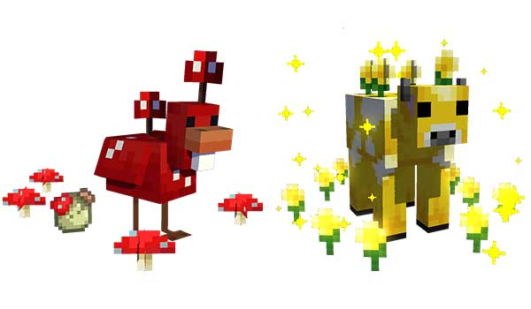Image where we can see two of the new creatures added by the Earth Mobs Mod.