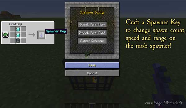 Image where we can see how the Spawner Key is made, which adds the Enhanced Mob Spawners Mod, allowing you to configure the creature generators.