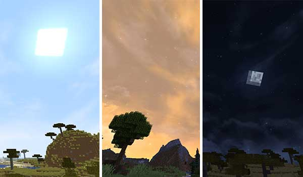 Composite image where we can see what the day sky, a sunset and the night sky will look like with Fancy Skies Texture Pack installed.