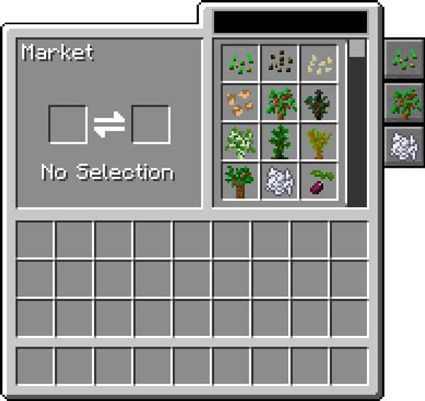 Image where we can see the trading interface added by the Farming for Blockheads Mod.