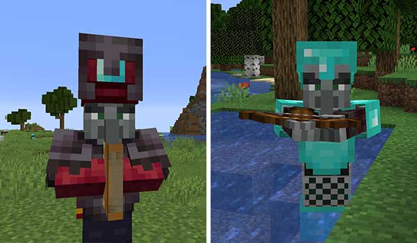 Image where we can see an Illager with diamond armor and an Illusionist, both modified by Illagers Wear Armor Mod.