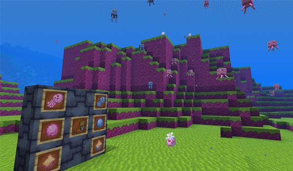Image where we can see the new biome, and the jellyfish, added by Jellyfishing Mod.