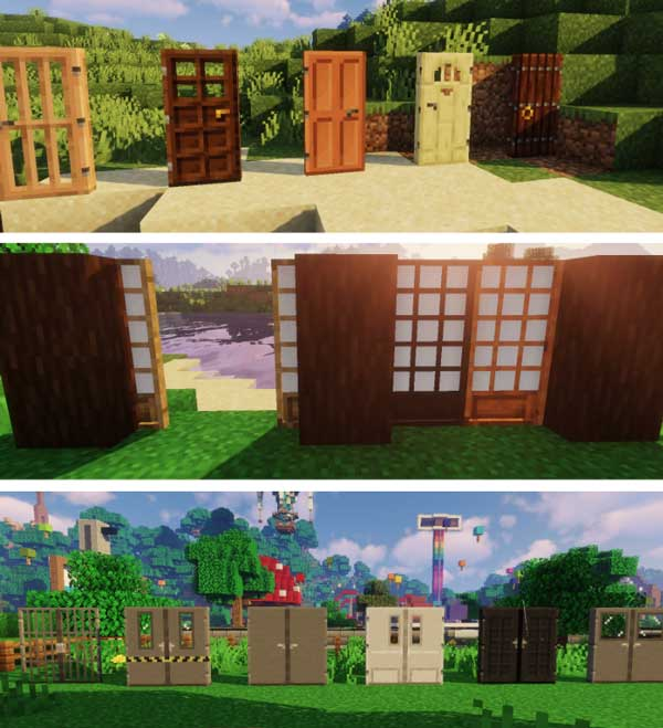 Composite image where we can see an exposition with the new types of doors that Macaw's Doors Mod will allow us to manufacture.