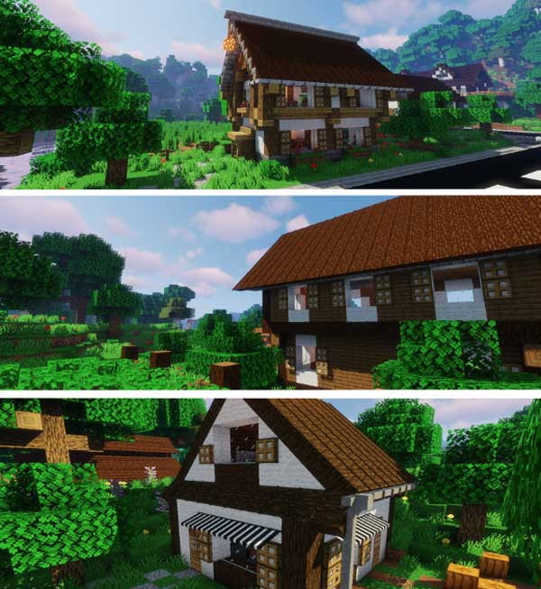 Composite image where we can see the roofs, awnings and rain gutters that we can build with Macaw's Roofs Mod.