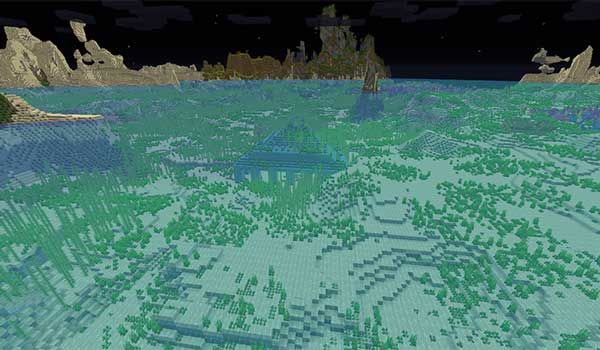 Image where we can see, at night, an oceanic monument thanks to the Night Vision Texture Pack.