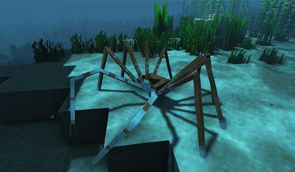 Image where we can see the giant crab that we can find in the Abyssal Trench biome added by the Odd Water Mobs Mod.