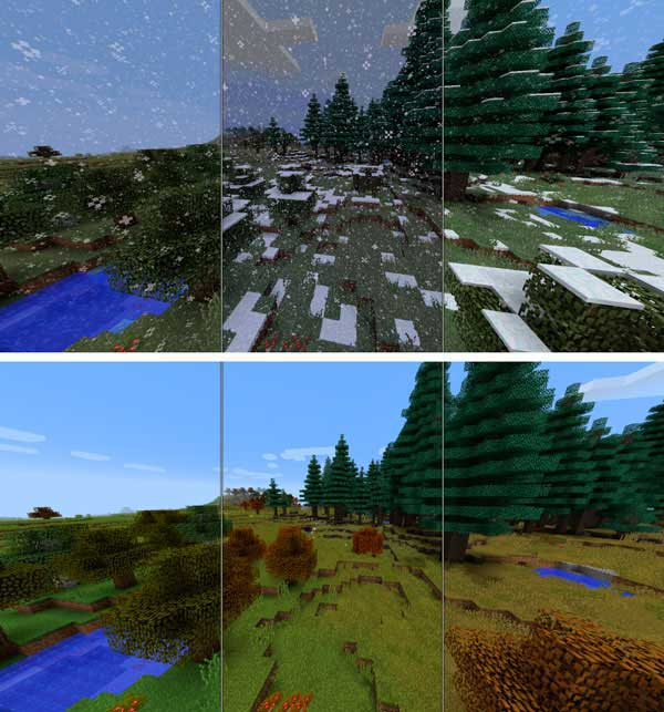 Composite image where we can see how the Serene Seasons Mod applies the weather stations on the ground.