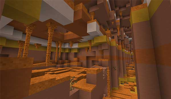 Image where we can see the interior of a cave, in the Mesa biome, generated by the Subterranean Wilderness Mod.