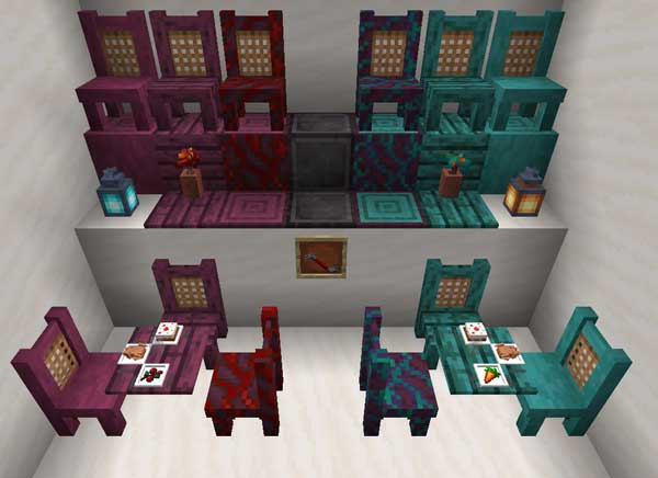 Image where we can see all the decorative elements that the TableChair Mod will offer us.